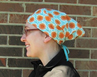 LIMITED STOCK -- Surgery Bouffant, Surgery Cap, Chemo Hat -- [orange and turquoise] -- sx1007