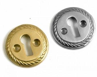 Raised Circular Escutcheon Polished Brass