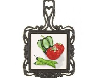 Square Trivet C/W Tomato/Pepper