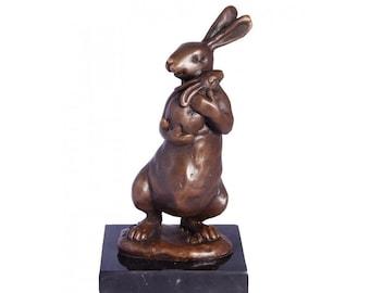 Mother & Baby Rabbit Bronze Statue