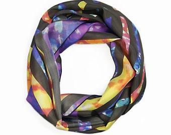 Silk Scarf / Colourful Scarf / Women's Scarf / Nursing Scarf / Summer Scarf / Geometry Silk Scarf
