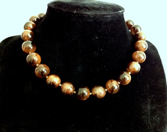 Cat-eye brown bead necklace- Free Shipping