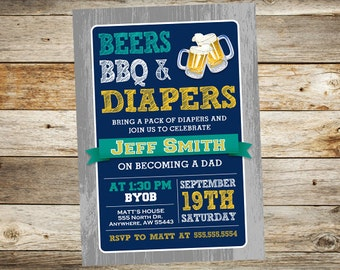 Diaper Party Invitation - Beers BBQ Diapers Invitation - Daddy Baby Shower - Diaper Beer Party