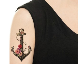 Temporary Tattoo - Vintage Anchor - Various Patterns and Sizes