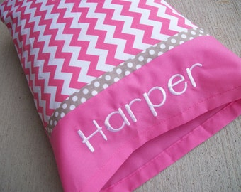 Personalized Toddler Pillow - Pink Chevron Toddler/TRAVEL Size Pillow