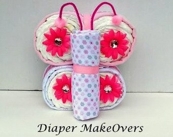 Butterfly Diaper Cake - Unique Baby Shower Gift - Pink Butterfly - Baby Boy, Baby Girl, Gender Neutral Baby Gifts