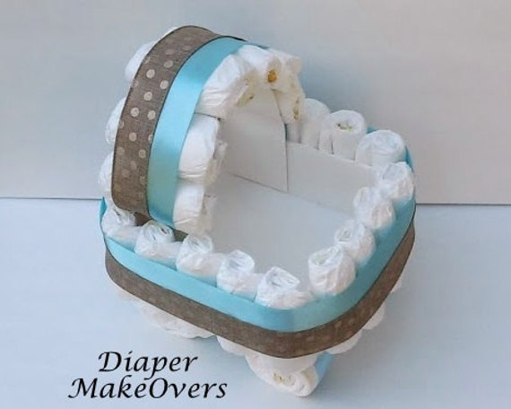 Blue carriage diaper cake gift basket unique by