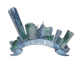 Green & Blue Oklahoma City Skyline Art Print - 8x10