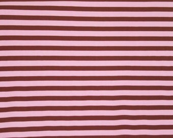 "Knit Pink & Brown Stripes 1/2"" Fabric 1/2 yard"