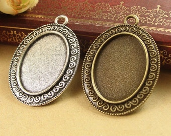 30pcs/lot Zinc Alloy Pendant Trays Blanks Bases Cameo Cabochon Setting fit 18x25mm Oval Cabochons