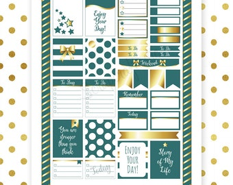 All Teal Pro Printable Planner Stickers for Erin Condren (EC) Life Planner