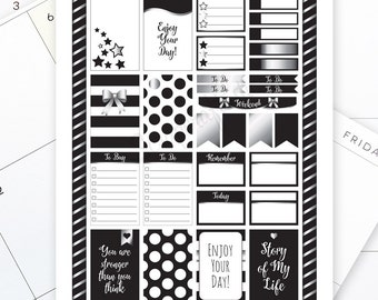 All Black Silver Pro Printable Planner Stickers for the Classic MAMBI Happy Planner