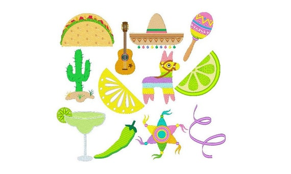 Mexican embroidery designs pinata taco by rosiedayembroidery