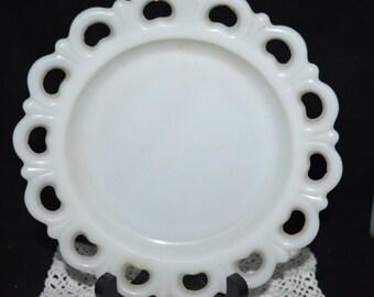 Milk glass serving dish / milk glass / cut out edge / glass dish / milk glass dish / round / white / white dish / glass dish / small serving