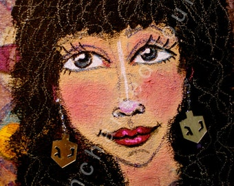 Dark haired woman with Chanukah dreidel earrings, S&H INCLUDED