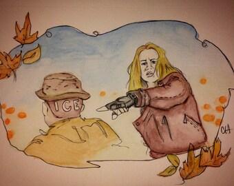 """Hocus Pocus Bullies 7""""X10"""" Watercolor"""