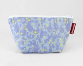 Lilac Splash Cosmetic bag, Makeup purse, bag organizer, gift for her, for mom, Linen-Cotton Canvas Zipper Pouch, White Polyester Lining