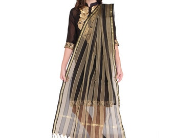 Black and Gold Silk Dupatta/Shawl