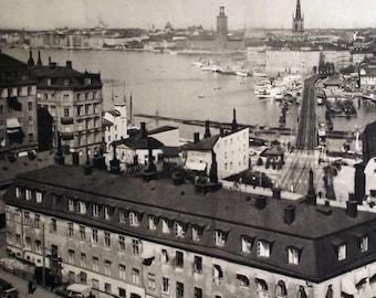1930 - STOCKHOLM View of the Malar / Fishermen SWEDEN SCANDINAVIA Original. Vintage, Heliogravure. Photography.