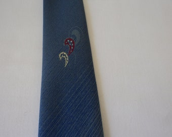 REDUCED - French vintage blue neck tie (03129)