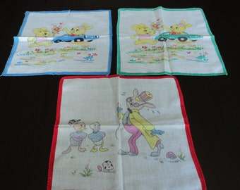 REDUCED French vintage set of three children's cotton printed handkerchiefs (00173)
