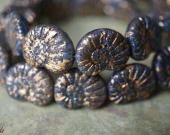 Golden Snails, Czech Beads, N1773
