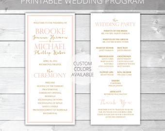 Blush/Gold Printable Wedding Program | Classic | Brooke Collection | Custom Colors Available