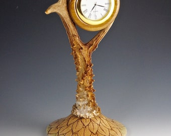 Unusual stags horn clock