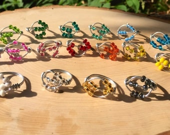Spinner Ring, Worry Ring, Anxiety Ring, Stress Ring, Meditation Ring Color Beads