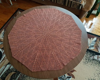 Brown tablecloth/ serviette/table-napkin/doily crocheted handmade from brown cotton, home decoration or decoration of the table