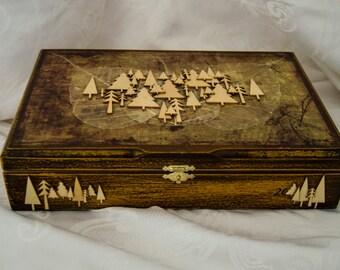 Woodland Treasure box/ up-cycled cigar box