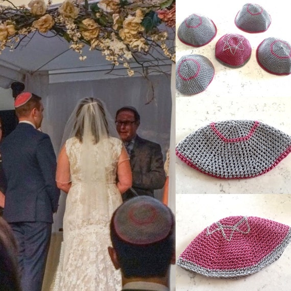 Wedding Gifts For Jewish Couples : Wedding Kippah, Crochet Kippah, Jewish Wedding, Groomsmen, Wedding ...
