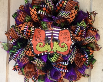 Halloween wreath deco mesh witch wreath if the shoe fits