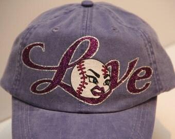 Softball Mom Hat in Glitter Vinyl (made to order)