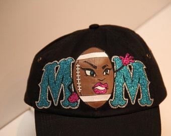 Football Mom Hat in Glitter VInyl (made to order)