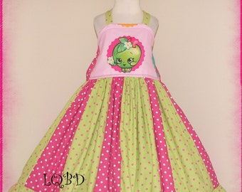 MEGA SALE - Ready to SHip shopkins Apple Fruit Dress - - RTS - fits approx 5T 5/6 maybe 6/7 - Birthday Party Princess