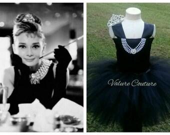 Audrey Hepburn Holly Golightly Breakfast at Tiffanys Inspired TuTu Dress Facebook.com/ValureCouture Pinterest.com/ValureCouture