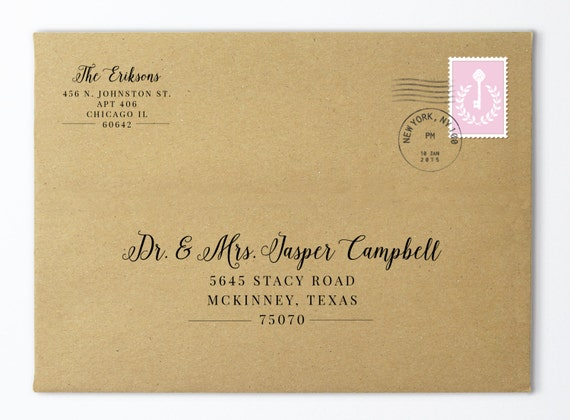 Printable envelope addressing template wedding