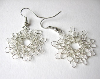 Silver wire crochet dangle earrings, handmade from non-tarnish silver plated copper wire with a silver colour hook