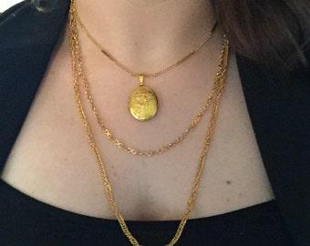 1970's Vintage Three Chain Locket Gold Necklace