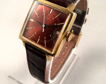 """VINTAGE Soviet Women's watch """"RAY"""" (Luch) made in Ussr 70s, Gold Plated , RARE Square Dial , High quality leather band!!"""
