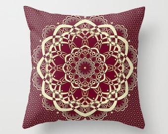 Burgundy Pillows, Decorative Pillows, Cranberry Throw Pillow Covers, Sofa Pillows, Cushion Cover, Accent Pillow, Bohemian Decor Bedroom