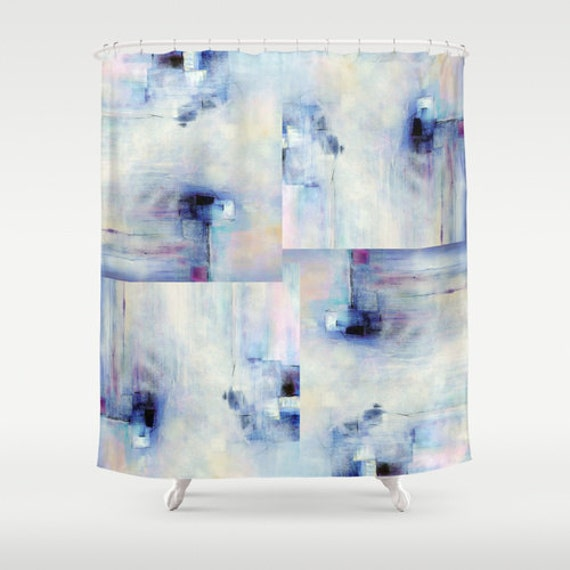 Blue Shower Curtain Purple Shower Curtain By DesignbyJuliaBars
