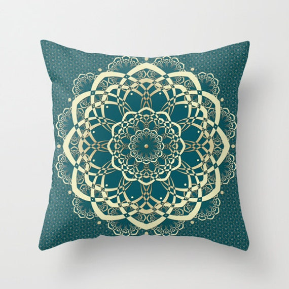 Throw Pillows For Dark Green Sofa : Dark Green Pillow Mandala Pillows Green and by DesignbyJuliaBars