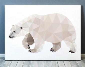 Animal print Wildlife art Polar bear poster Geometric print TOA184