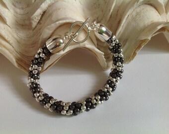 Gunmetal and Silver Beaded Bracelet