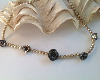 Pyrite and Pearl Necklace. Gold. Rose. Genuine Gemstone.Gift