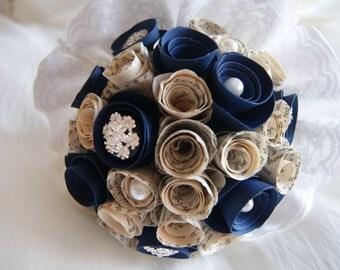 Paper flower wedding bouquet - Vintage / winter / snowflake - small bride/bridesmaid