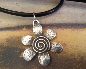 Black Leather Necklace with Flower Pendant!