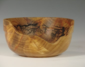Monkey Puzzle Fractal Burned and Carved Bowl